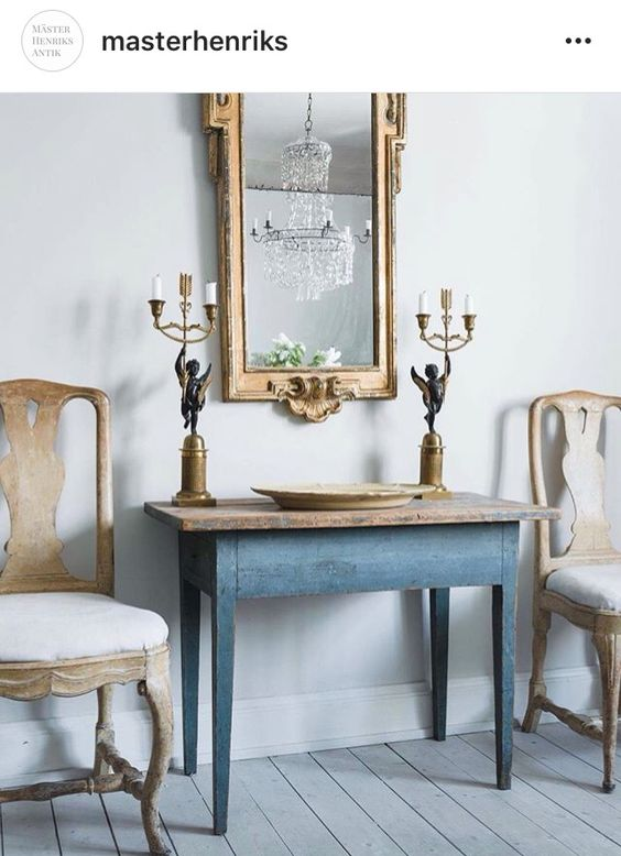 Beautiful Swedish chairs flanking antique Swedish table - found on Hello Lovely Studio
