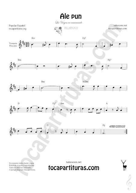 Trompeta y Fliscorno Partitura de Sheet Music for Trumpet and Flugelhorn Music Scores