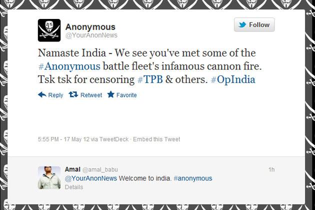 أنونيموس تهاجم المواقع الحكومية الهندية