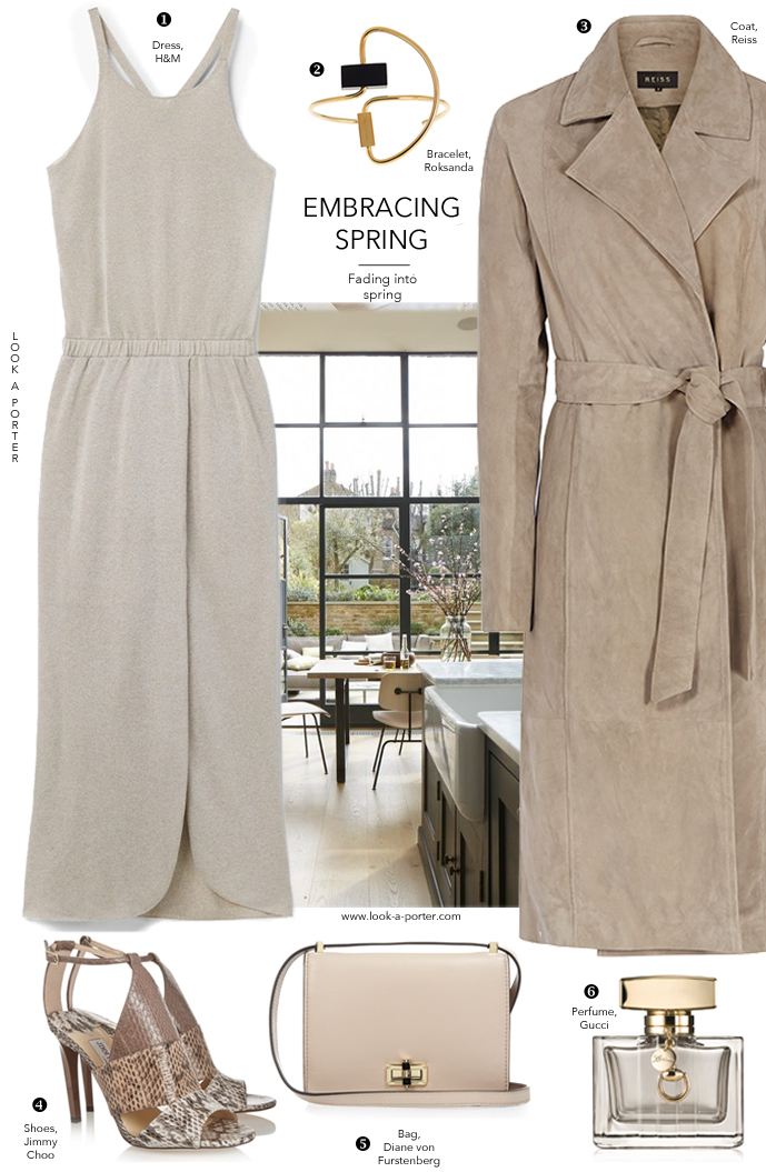 Many ways to wear khaki and grey for spring via www.look-a-porter.com style & fashion blog featuring H&M, Reiss, Jimmy Choo, Diane von Furstenberg, Gucci & Roksanda