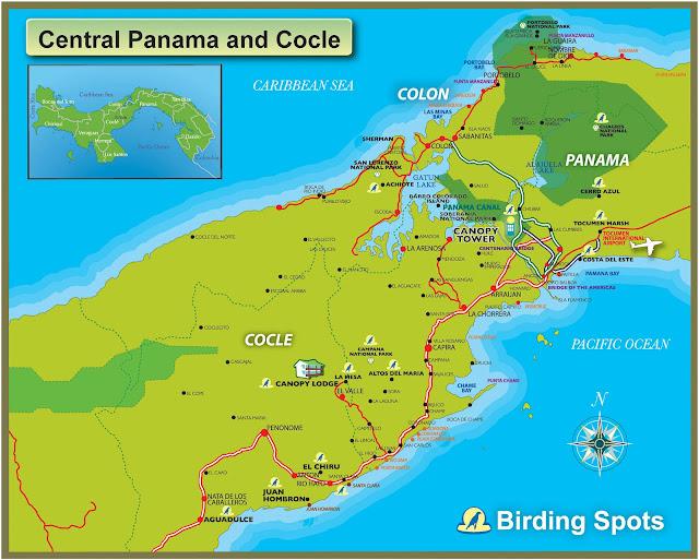 Mapa da área central do Panamá