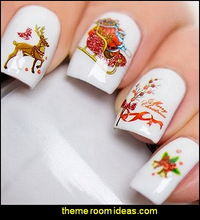 Christmas Nail Wraps Water Transfers Decal Nail Art Santa Canes Snowmen Snow