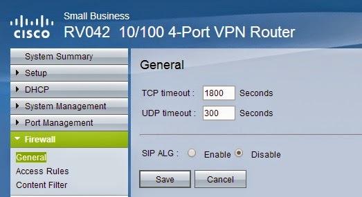 HEEELP!: Desabilitar SIP ALG no Cisco RV042