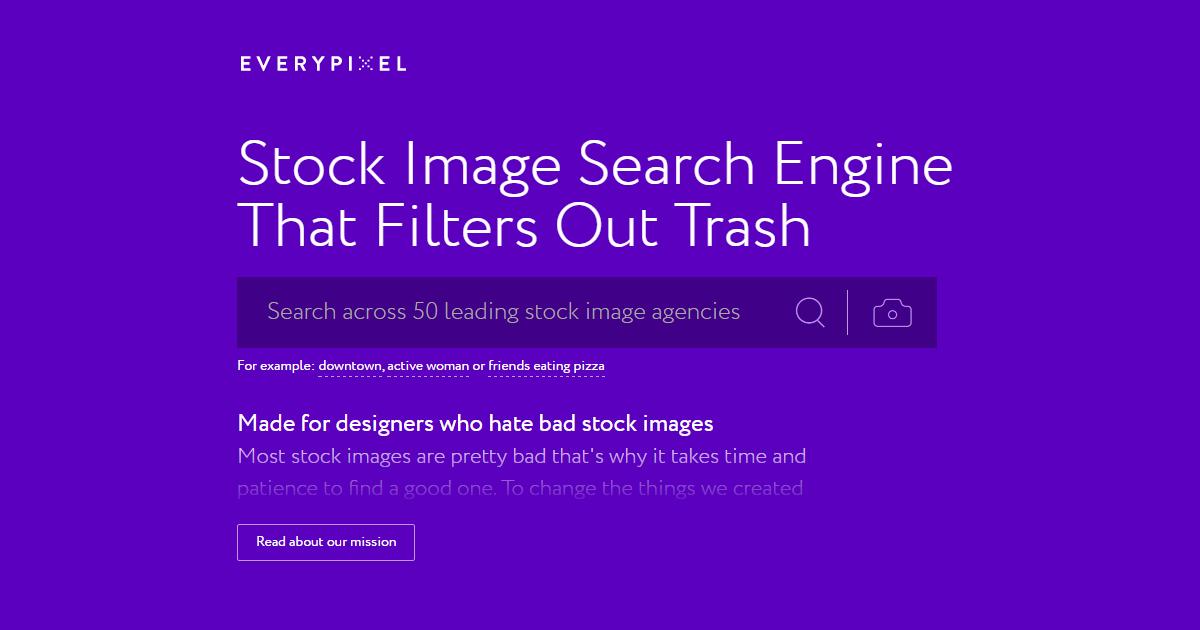 更聰明的免費圖片素材搜尋引擎 Everypixel 用 AI 排除俗氣照片