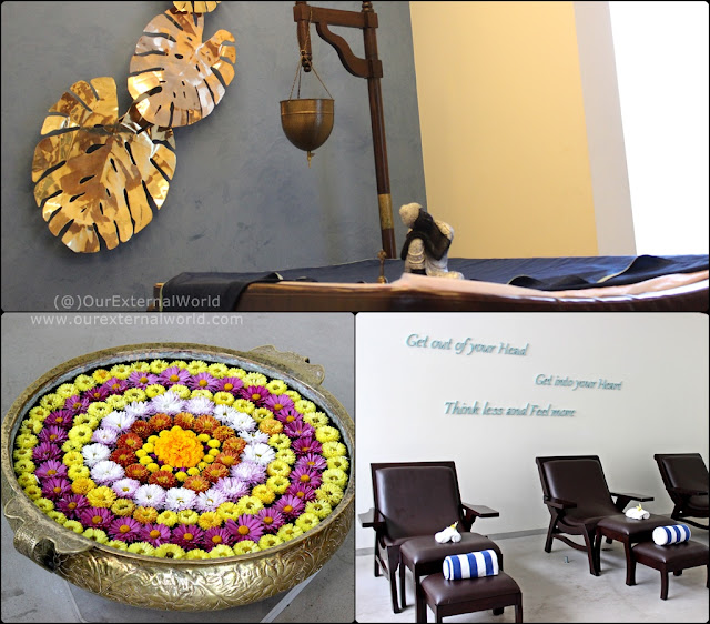 Shirodhara room, foot massage area