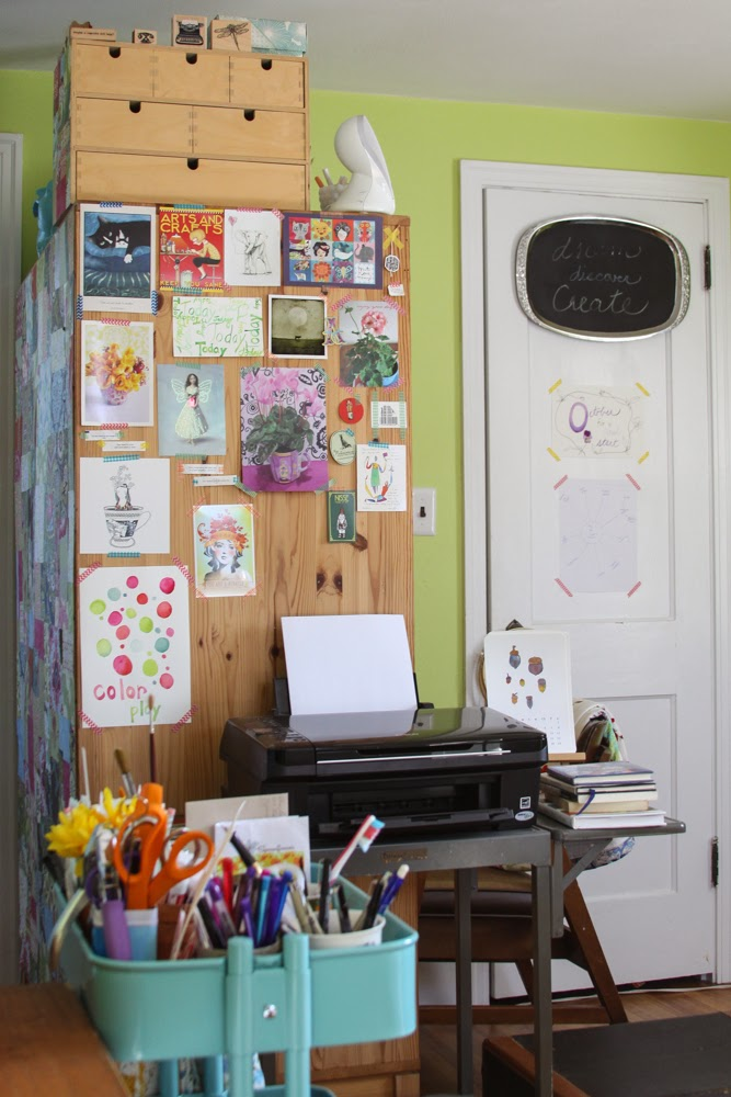 Inspiration board, art, creative space, ikea cart