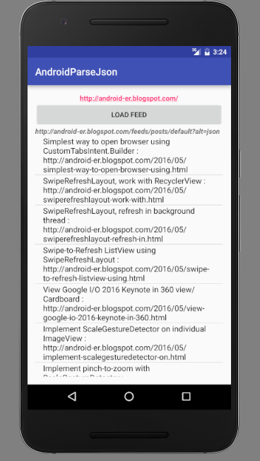 Android-er: Download and parse blogspot JSON feed