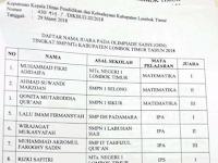 Pengumuman OSN SMP 2018 Kabupaten Lombok Timur
