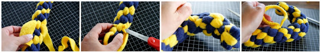 Step-by-step cinching a curve into a woven fleece DIY dog toy