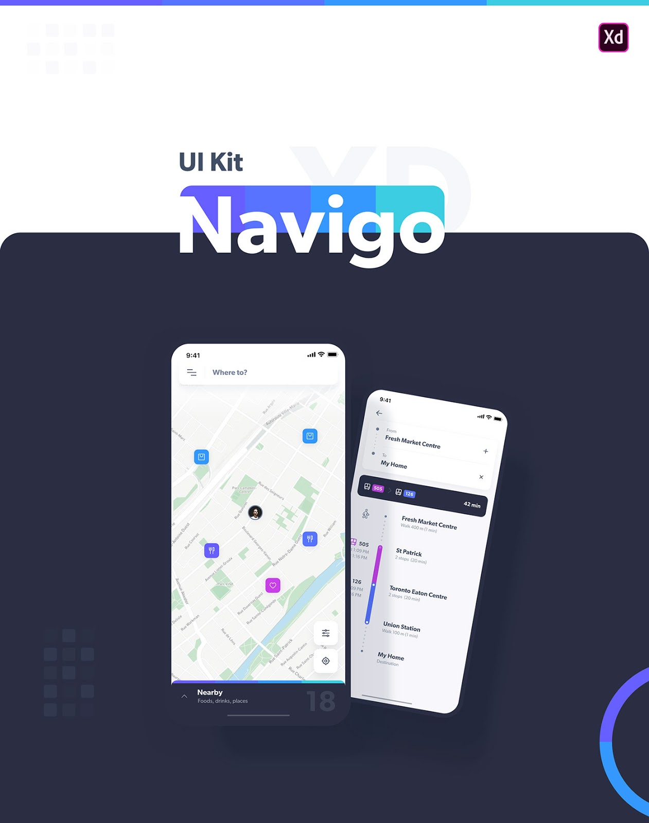Navigo is a free iOS UI Kit made for Adobe XD It includes