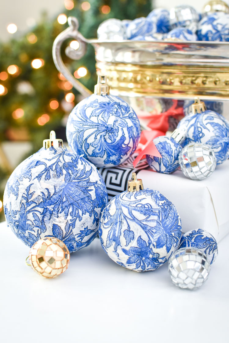 Blue and white ginger jar inspired chinoiserie ornaments
