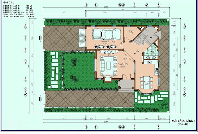 Mặt bằng điển hình thiết kế biệt thự đơn lập Louis City
