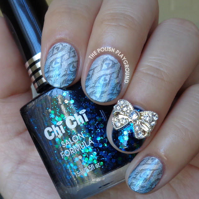 Blue and Silver Holo Gradient with Feather Stamping Nail Art