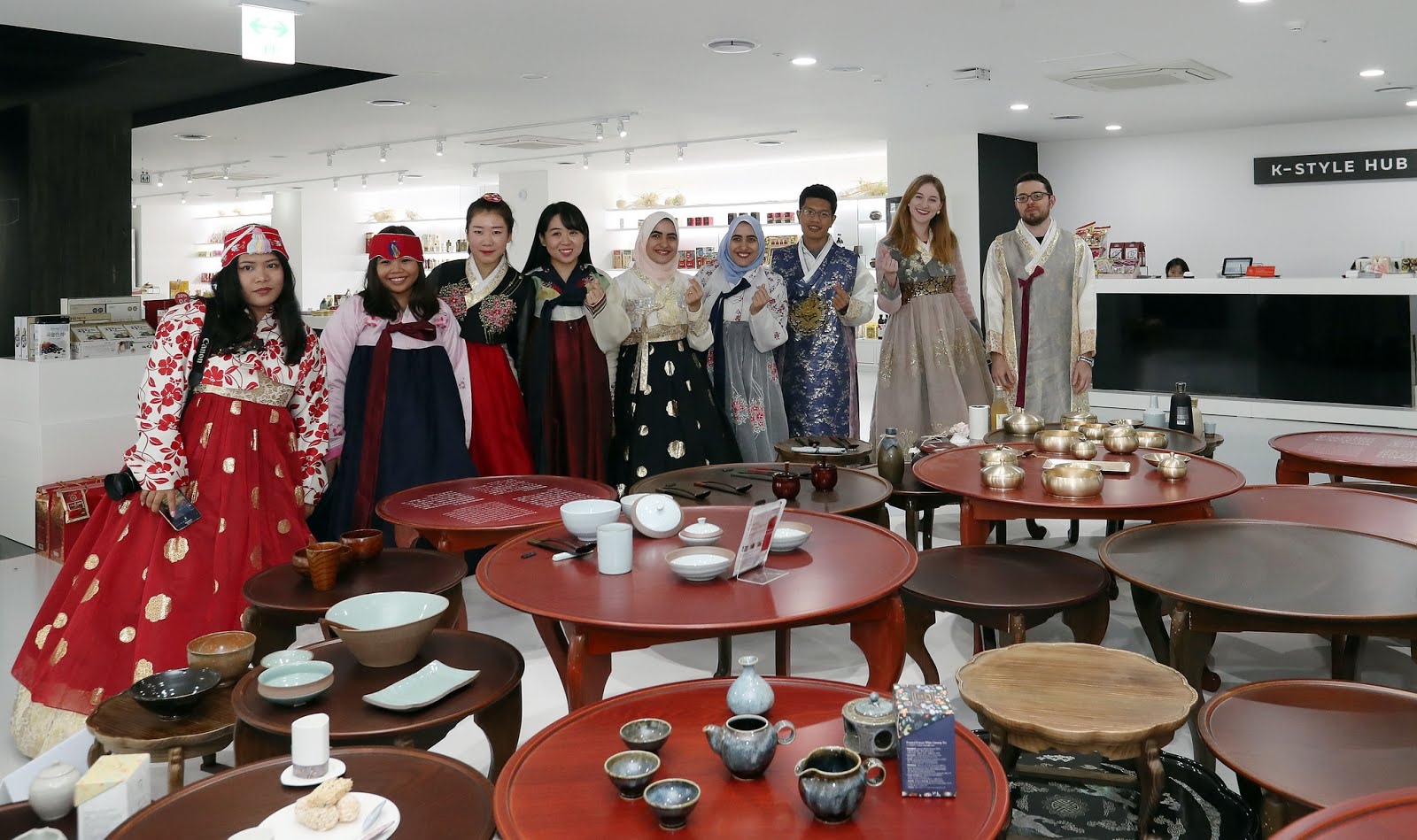 Enjoying our visit in Korea Tourism Organization's interactive K-Style Hub.