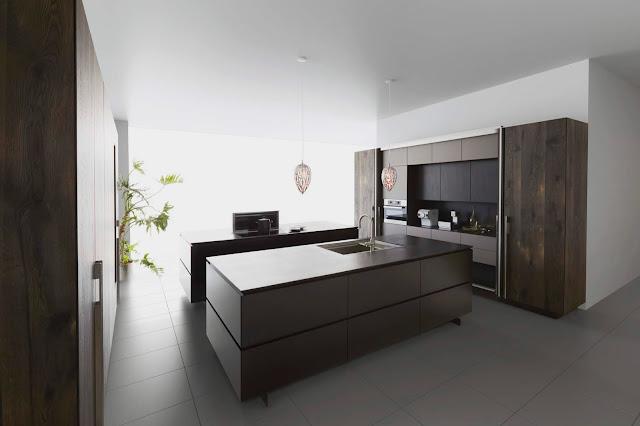Cocina de diseño minimalista oscura