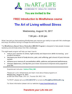 FREE Introduction to Mindfulness course August 16, 2017, Art of Life Community Health Centre