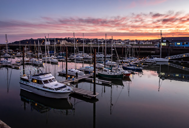 Photo of calm conditions at Maryport Marina at sunrise this morning (Friday)