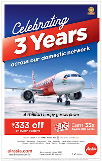AIRASIA 3 YEARS CELEBRATIONS RS 333/- OFF