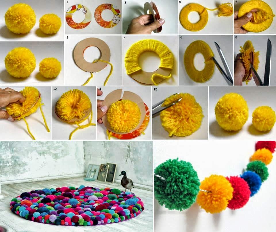 C mo hacer pompones de lana para decorar fiestas - Decoracion con alfombras ...