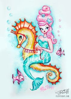 miss fluff mermaid riding seahorse