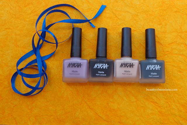 Nykaa Matte Nail Paints (Lavender Panna Cotta, Squid Ink Mousse, Black Sesame pudding , Almond Crumble ) Review...