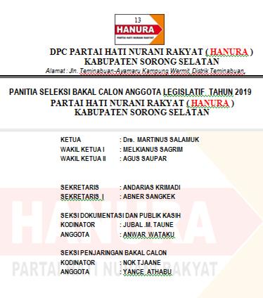 HARI PERTAMA PENDAFTARAN  BACALEG 2019  di DPC Partai HANURA  KABUPATEN SORONG SELATAN