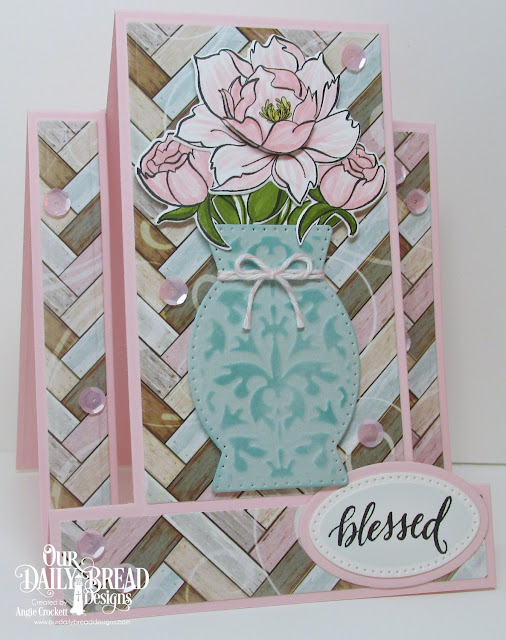 ODBD Hello Friend Stamp/Die Duo, ODBD Custom Decorative Vase Die, ODBD Custom Center Step A2 Card Die, ODBD Custom Center Step A2 Layers Dies, ODBD Romantic Roses Paper Collection, ODBD Custom Pierced Ovals Dies, ODBD Custom Ovals Dies, Card Designer Angie Crockett