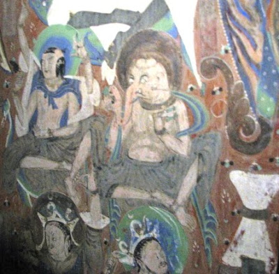 Ganesha and Shiva depicted in Cave 285 at Duanhuang's Mogao caves, China