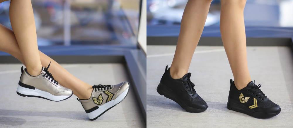 Adidasi dama negri, argintii cu talpa inalta ieftini primavara 2017