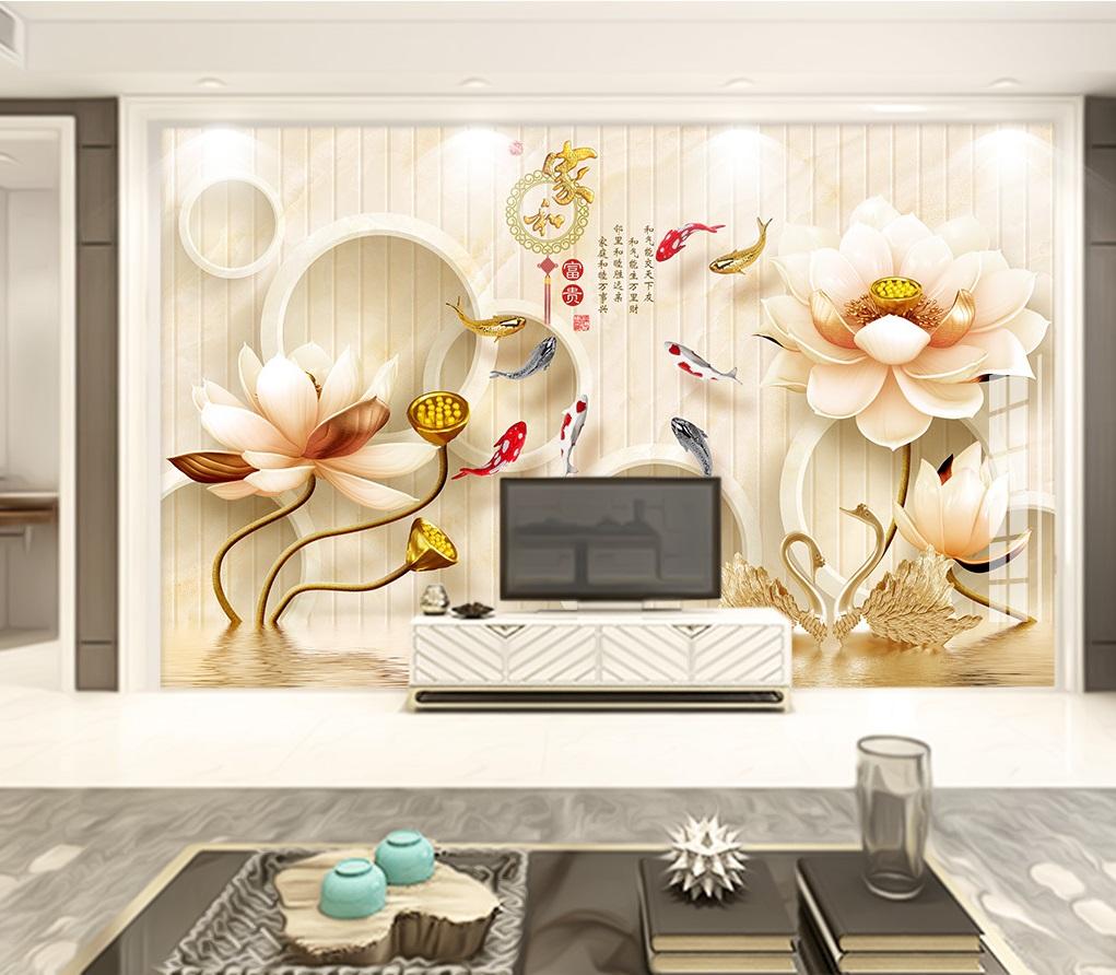 Tranh dán tường 3d hoa sen ngọc