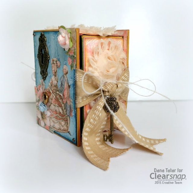 Graphic 45 Gilded Lily ATC Book Box Side by Dana Tatar for Clearsnap