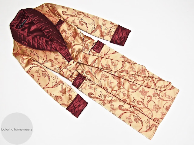 Mens burgundy paisley silk dressing gown red gold smoking jacket robe quilted