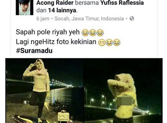 Foto Hot Cewek Bejilbab Pamer BH di Jembatan Suramadu