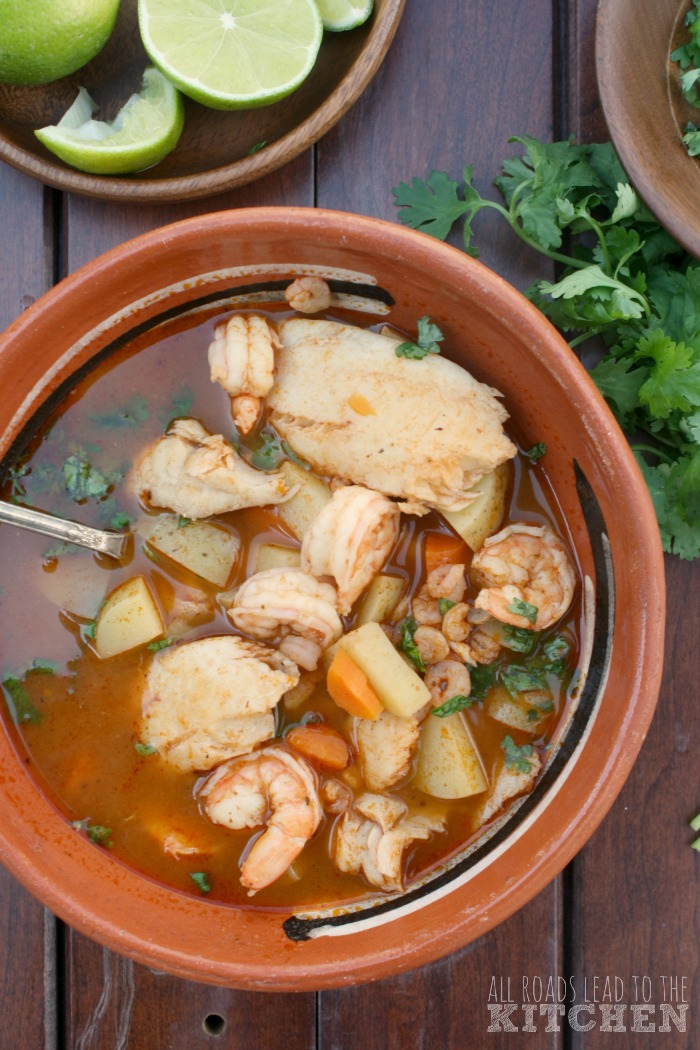 Caldo de Camaron y Pescado (Brothy Shrimp and Fish Soup)