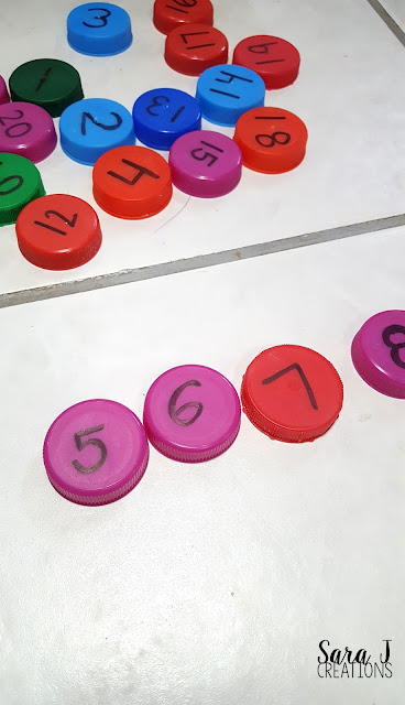 Missing number games using milk bottle caps for practicing numbers 1-20 and 1-30.  Love this for preschool or kindergarten.