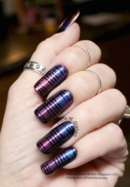 Glitter Gal Serpent Black, ILNP Birefringence, ILNP Masquerade, gradient, nail vinyls