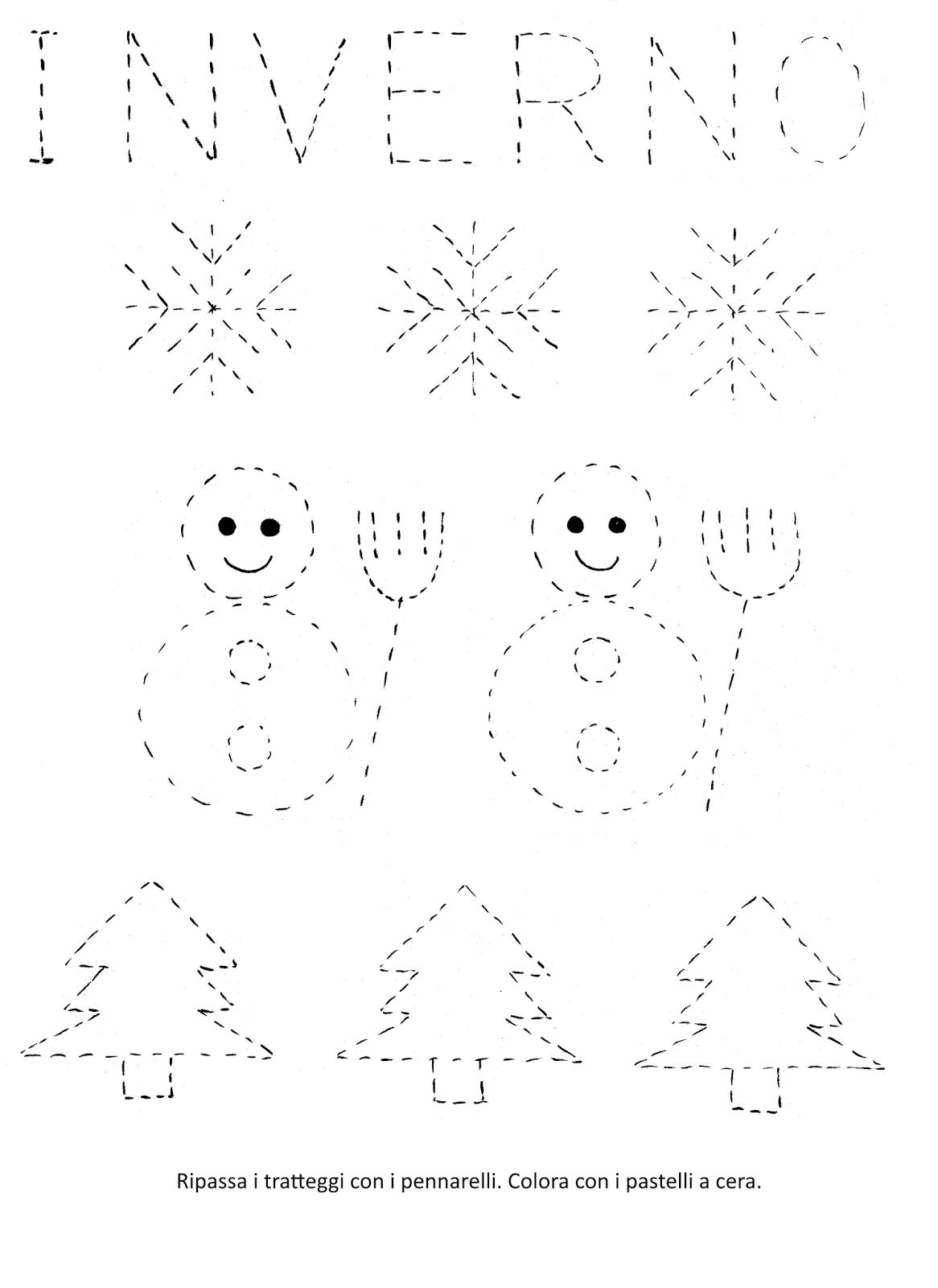 La maestra linda inverno pregrafismo for Schede didattiche scuola dell infanzia da stampare natale