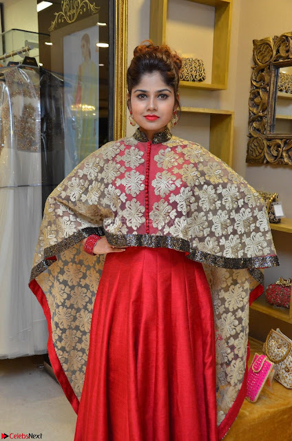 Anya South Actress model in Red Anarkali Dress at Splurge   Divalicious curtain raiser ~ Exclusive Celebrities Galleries 003.JPG