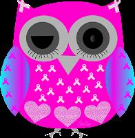 Câncer de mama laço coruja piscando - Criação Blog PNG-Free