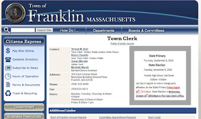 screen grab of Franklin Town Clerk webpage