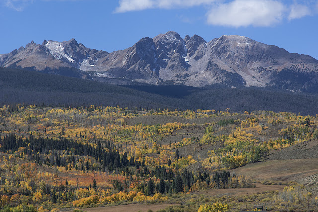 Peak K, Peak L, Gore Thumb, Guyselman, Peak N and Peak O from Highway 9 in fall colors