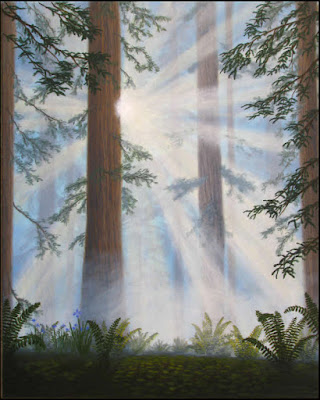 art,artwork,painting,paintings,redwood,trees,Redwood national Park,Lady Bird Johnson Grove,sunbeams,shafts,light,sunlight,fog,foggy,fern,Douglas fern,ferns,Sequoia sempervirens