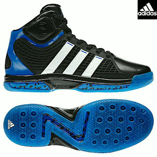 online store 4246e 57b04 The away adiPower Howard basketball shoes features a predominantly black  upper with bright blue patent trim along the ankles and heel. White handles  the ...
