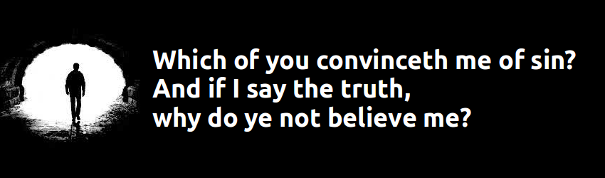 Which of you convinceth me of sin? And if I say the truth, why do ye not believe me?