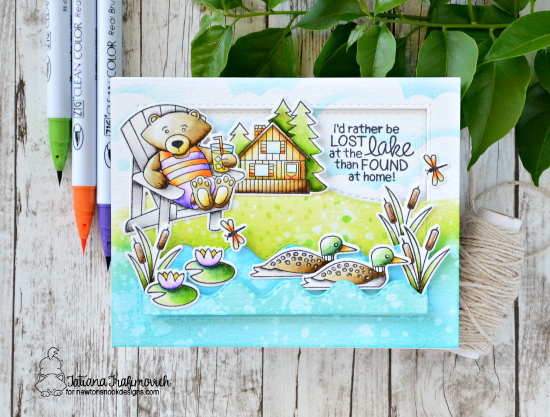 Lost at the Lake Card by Tatiana Trafimovich | Winston's Lake House Stamp set by Newton's Nook Designs  #newtonsnook
