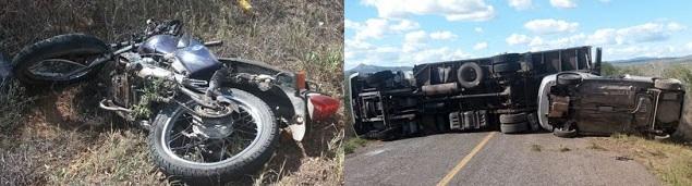 Casal morre em acidente envolvendo caminhão, moto e carro de passeio na BA-120, entre Cansanção e Monte Santo