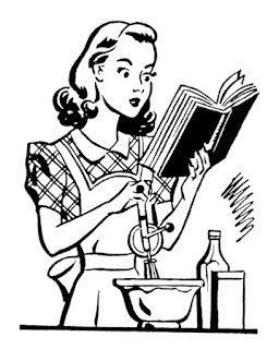 dessin femme vintage retro cuisine fouet livre 50s