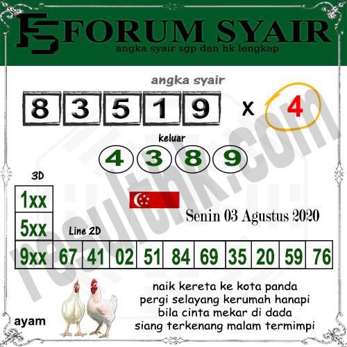 Forum Syair SGP Senin 03 Agustus 2020