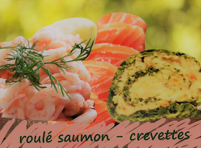 roulé au saumon, crevettes, mayonnaise
