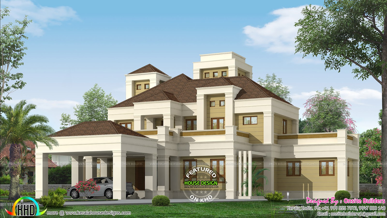 Elegant colonial home plan kerala home design and floor for Elegant farmhouse plans